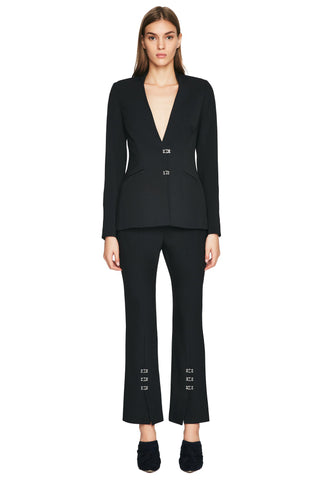 Compact Stretch Wool Basque Blazer