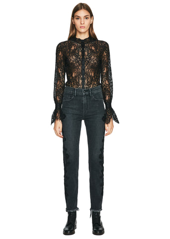 Mixed Lace Rouched Sleeve Bodysuit