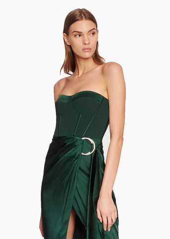 Crepe Satin Combo Bustier Dress