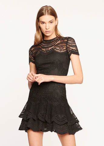 Mixed Lace Cap Sleeve Mini Dress