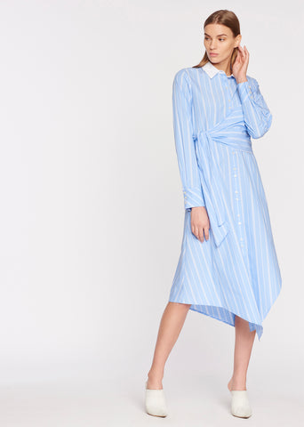 Asymmetric L/S Wrap Oxford Dress