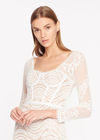 Mixed Lace Bustier Dress (Lined)