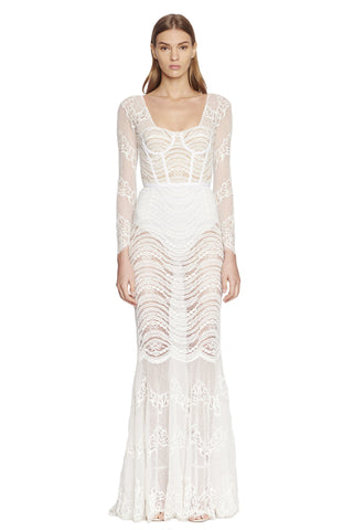 Mixed Lace Bustier L/S Gown