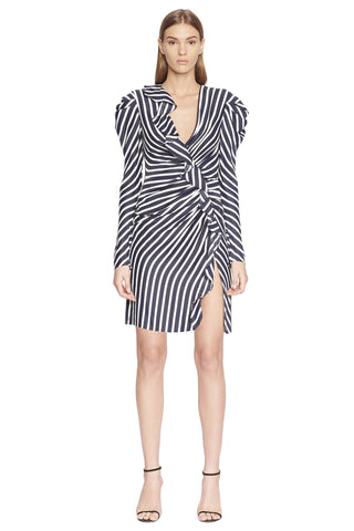 Multimedia Stripe Ruffle Short Slit Dress
