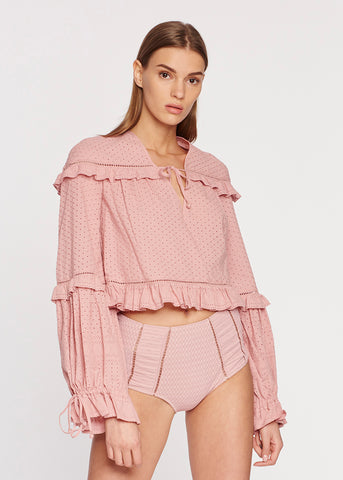 Embroidered Ruffle L/S Top