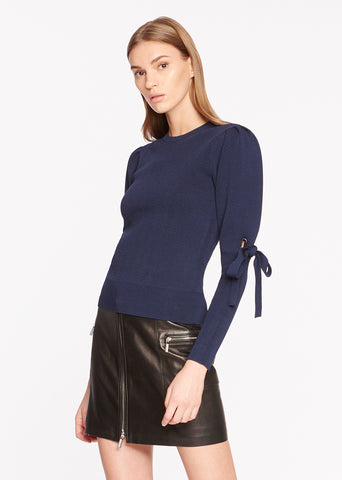 Grommet Jacquard Puff Sleeve Top