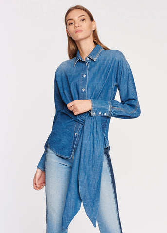 Front Tied Denim Shirt