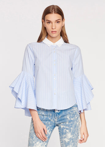 Stripe Ruffle Sleeve Shirt