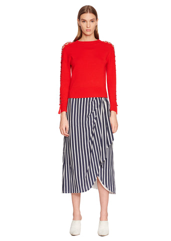 Multimedia Stripe Wrap Front Skirt