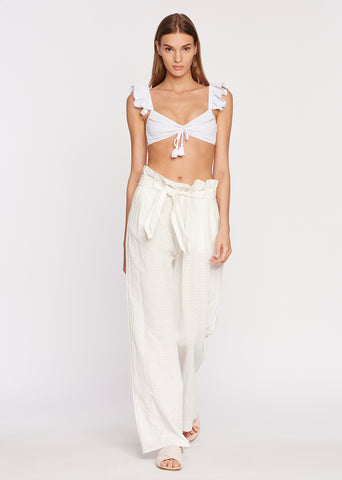 Embroidered Ruffle Pant