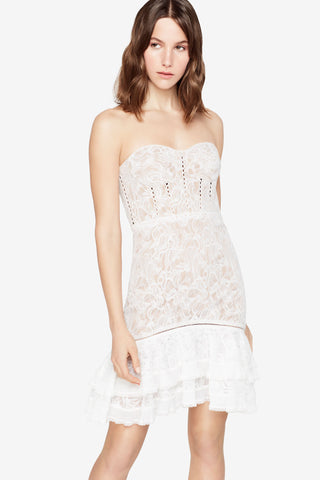 MULTIMEDIA CORDED LACE MINI RUFFLE DRESS