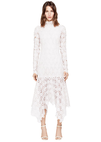 GUIPURE LACE MOCKNECK HANDKERCHIEF DRESS