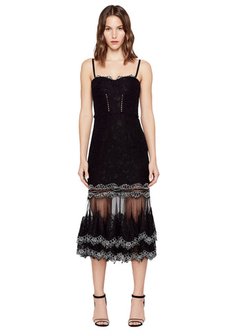 MULTIMEDIA CORDED LACE BUSTIER  TRUMPET DRESS