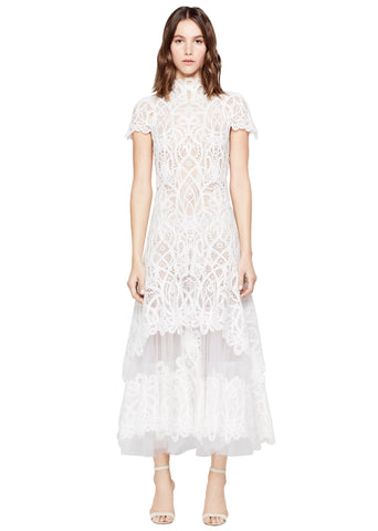 THREADED LACE TIERED MIDI DRESS