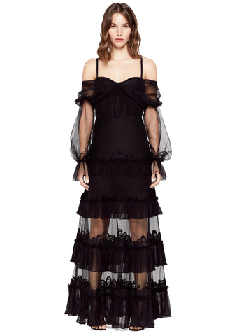 THREADED LACE LINED TULLE RUFFLE DRESS