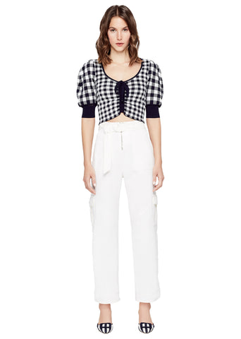 Gingham Knit Ruched Front Crop Top