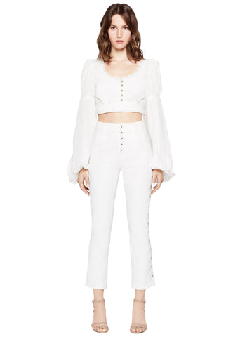 LACE TRIM POPLIN CROPPED TOP