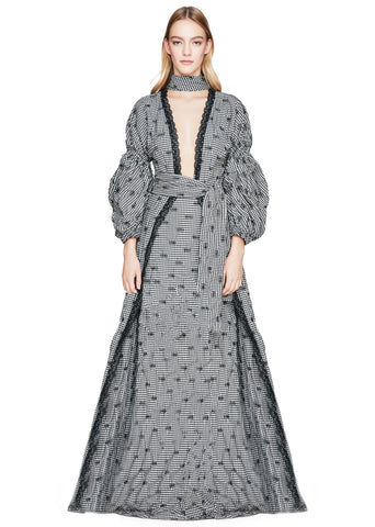 Smocked Gingham Blouson Sleeve Gown