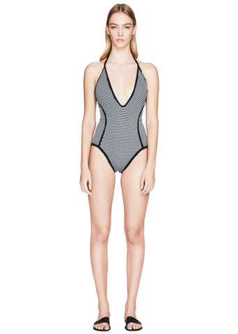Gingham Deep-V One Piece