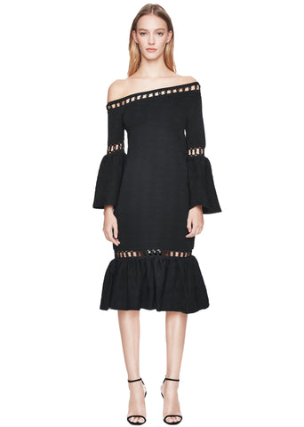 Chainlink Knit Off-Shoulder Dress