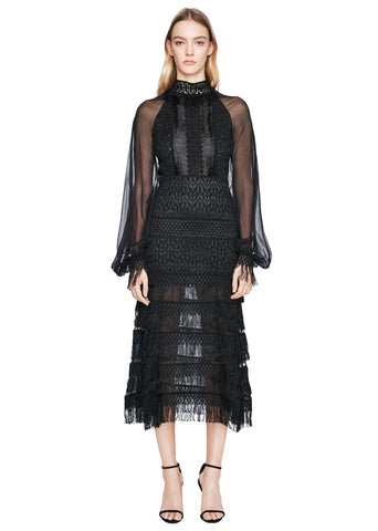 Silk Fringe Blouson Sleeve Dress