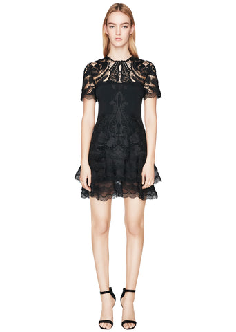 Crepe Appliqué Mini Tee Dress