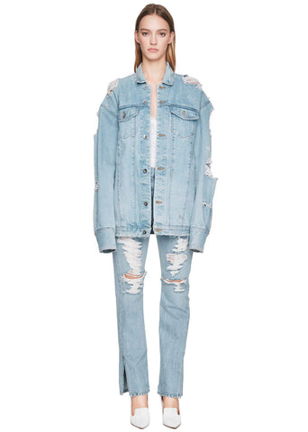 Denim Oversized Studded Jacket