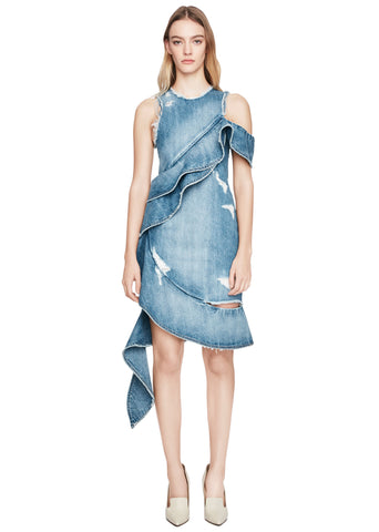 Asymmetric Ruffle Denim Dress