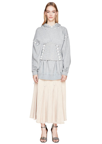 Oversized Whipstitch Hooded Sweatshirt