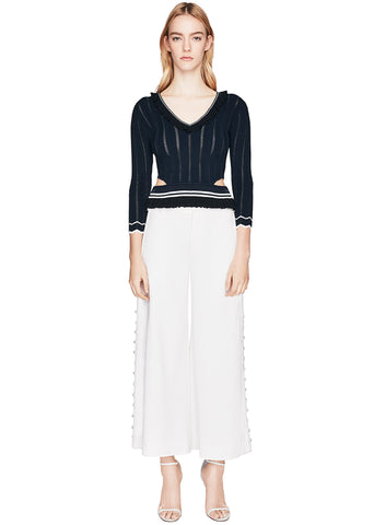 Deconstructed Side Slit Button Crop Pant