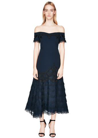 Crepe Appliqué Off-Shoulder Trumpet Dress