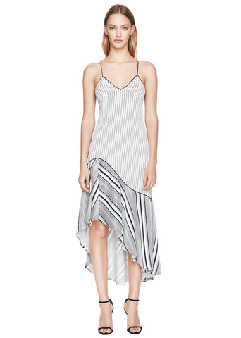 Linear Print High Low Dress