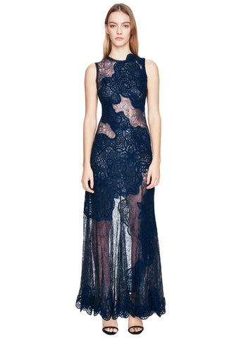 Dimensional Appliqué Asymmetric Gown