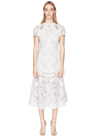 Lace Appliqué Capsleeve Midi Dress