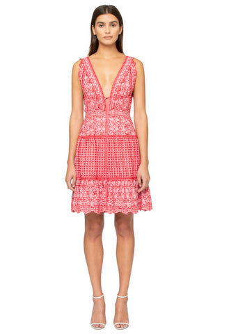 Eyelet Embroidery Gathered Mini Dress