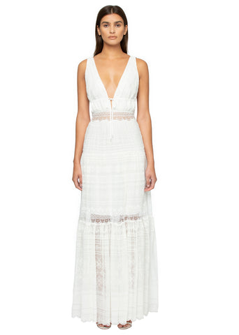 Silk Crinkle V-Neck Maxi Dress