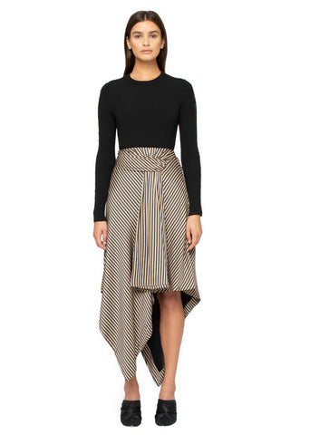 Stripe Twist Front Drape Skirt