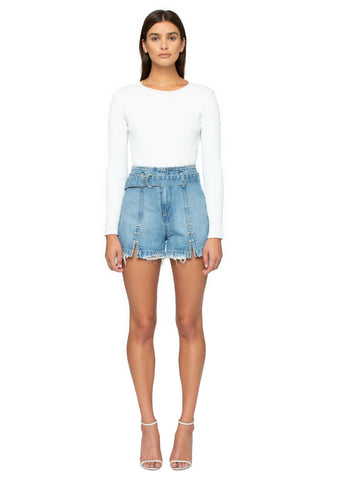Classic Denim Belted Shorts