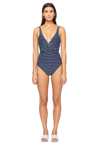 Striped Deep V Twist One Piece