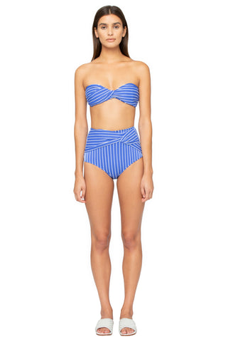 Striped High-Waist Twist Bikini Bottom