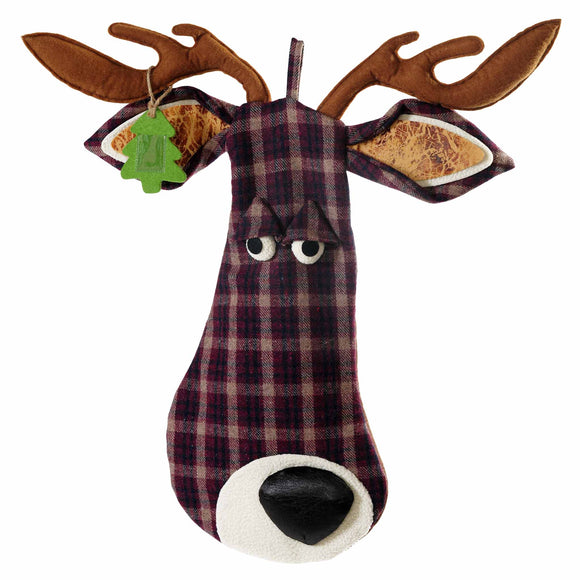 Deer Head Holiday Stocking - Outside Inside Gifts and Games