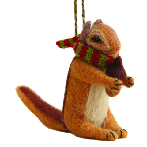 FELTED CHIPMUNK ORNAMENT