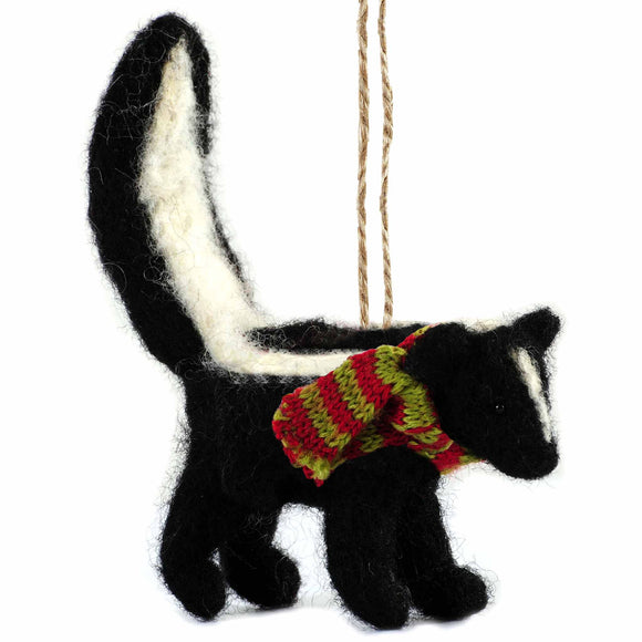 Felt Festive Skunk Ornament - Outside Inside Gifts