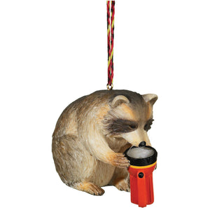 Raccoon with flashlight tree ornament - Outside Inside Gifts and Games