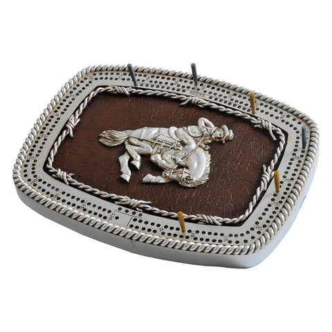 BRONCO BUCKLE CRIBBAGE BOARD