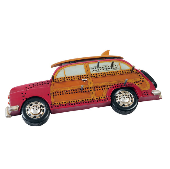 Woody Car with surf board Cribbage Board - Outside Inside Gifts