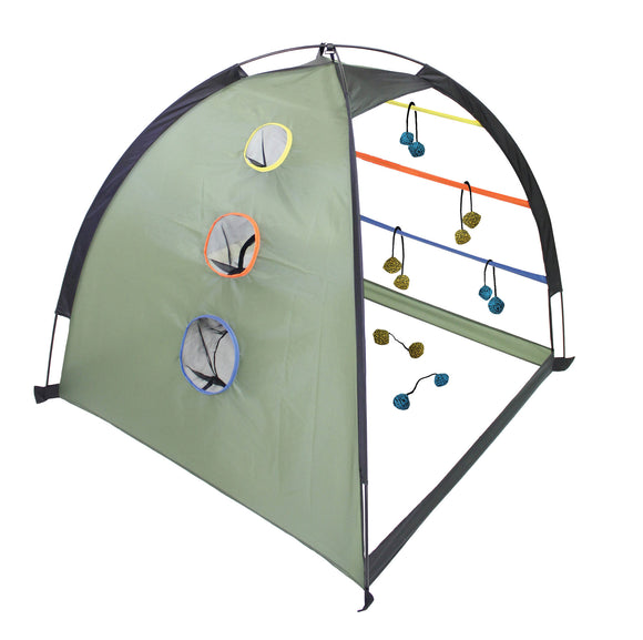 Outside Inside Dome Tent Ladder Ball and Cornhole Game