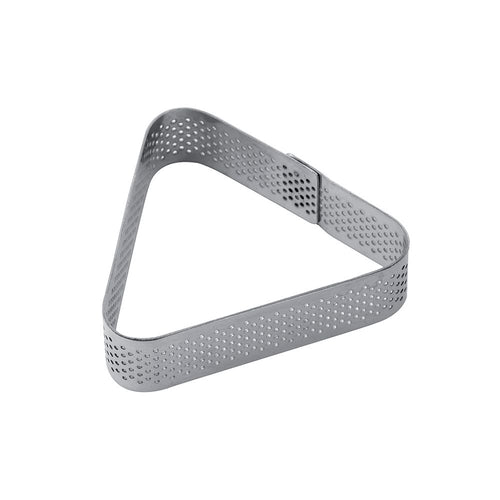 Molde triangular de acero inoxidable microperforado  73 x 20 mm Pavoni -XF16- RicaItalia México