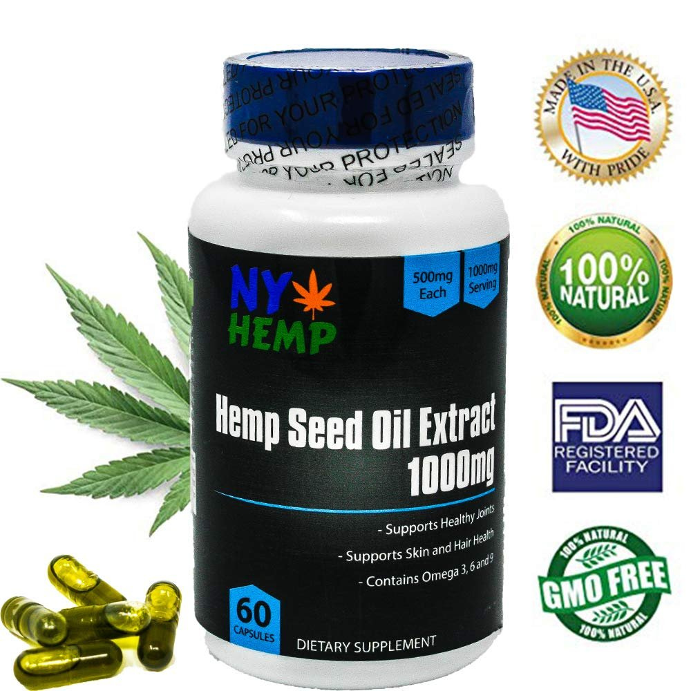 Hemp Oil Seed Extract Capsules for Pain Relief and help Anxiety. Full Spectrum Tincture 500mg Capsule