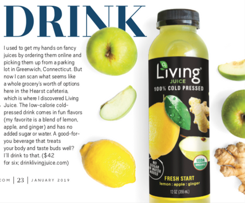 Organic, cold-pressed Living Juice, by O2 Living makers of Living Health and Wellness, are featured in Oprah Magazine